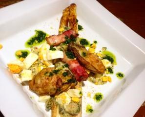 ホワイトアスパラガスと牡蠣のムニエル温かいビネグレットソースで