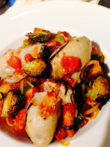 牡蠣と季節野菜のスパゲティーニの話